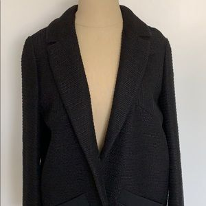 Maje Black Cocoon Textured Jacket Blazer Coat 36